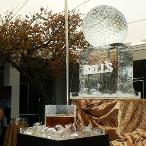 Gold ball ice sculpture