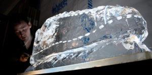 Live ice sculpture underway