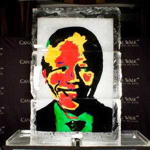 Mandela ice sculptures - coloured gels