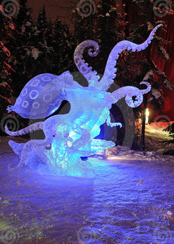 Blue Ring Octopus Ice Sculpture